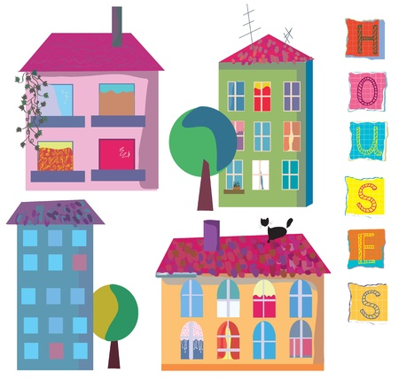 vibrant cottage: Set of cute bright houses cartoons