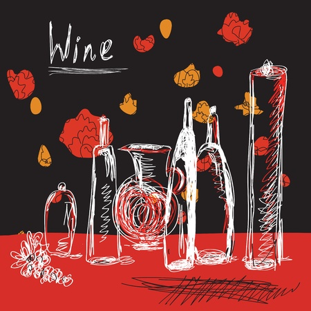 french wine: Wine background with bottles hand drawn