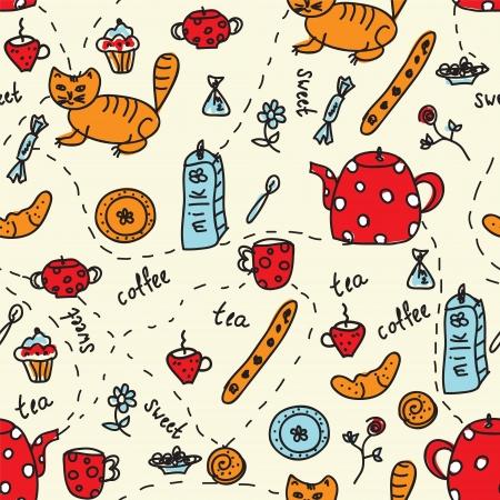 차 고양이와 과자 원활한 패턴