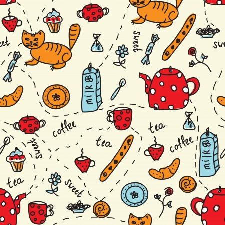 Tea and sweets seamless pattern with cats Vector
