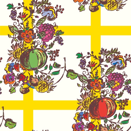 autumn flowers: Seamless pattern with autumn flowers and fruits for kitchen