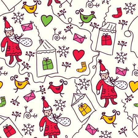 Christmas doddle seamless pattern for kids Vector