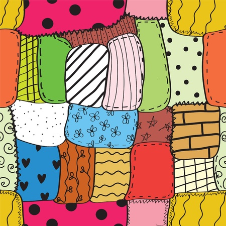 Quilt seamless wallpaper with different patterns Illustration