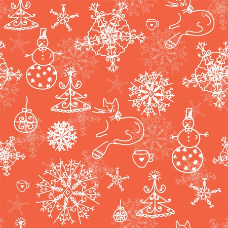 Christmas red seamless pattern with cats, trees and snow  Vector