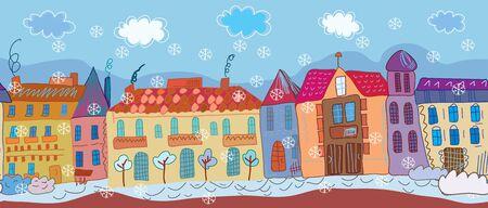 row of houses: Ciudad de la Navidad de dibujos animados bandera sin fisuras