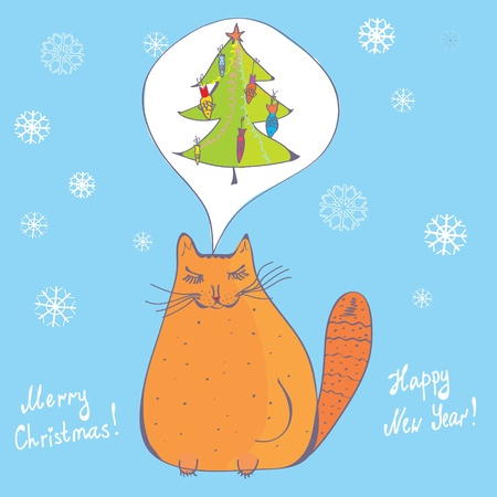 Christmas cat with fir tree card Stock Vector - 10889265