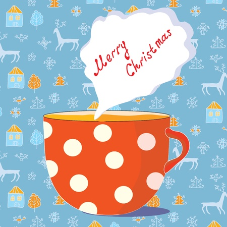 coffee tree: Christmas cup of tea card