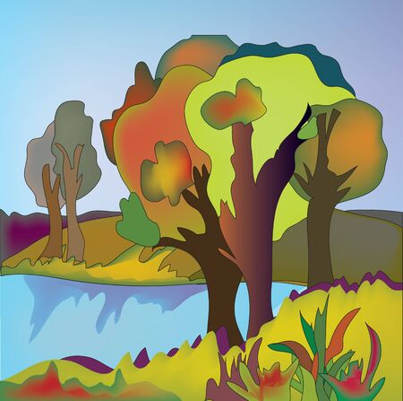 paiting: Trees at the autumn lake landscape