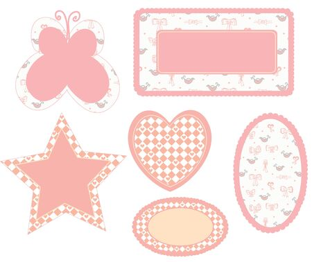 Baby frames pink set for the girl Vector