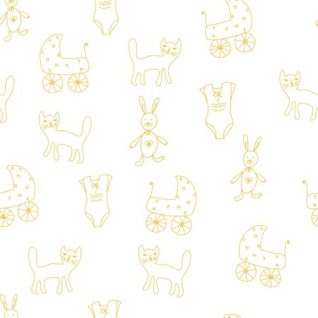 prams: Baby seamless pattern with toys and prams Illustration