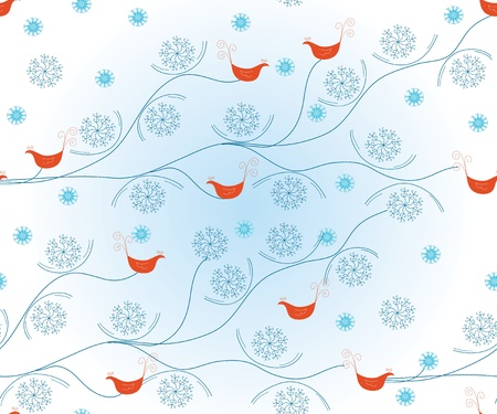 Christmas seamless pattern with birds and snow Vector