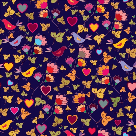 Floral wallpaper with birds and hearts Vector