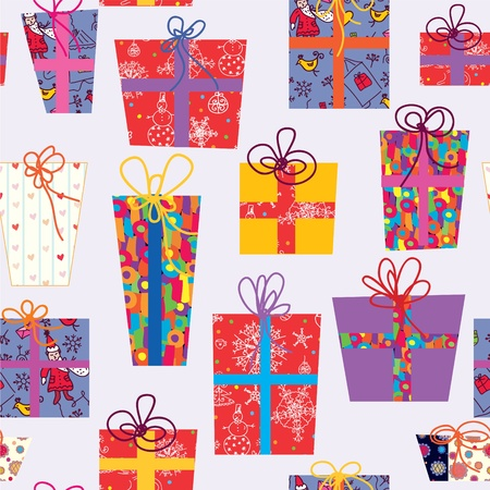 Christmas seamless pattern with gifts and bows Vector