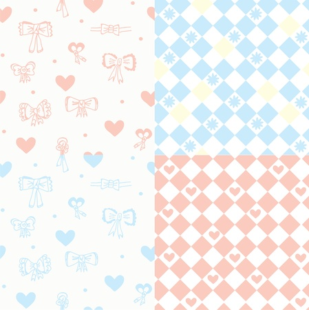 Baby seamless pattern set with hearts, bow and flowers Illustration