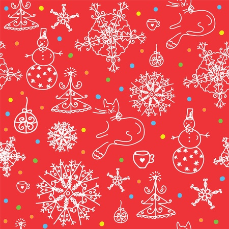 Christmas  red seamless wallpaper with snow Vector