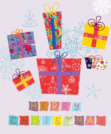 Christmas card with gifts and snowflakes Vector
