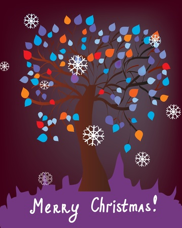 caroling: Christmas card with tree at night