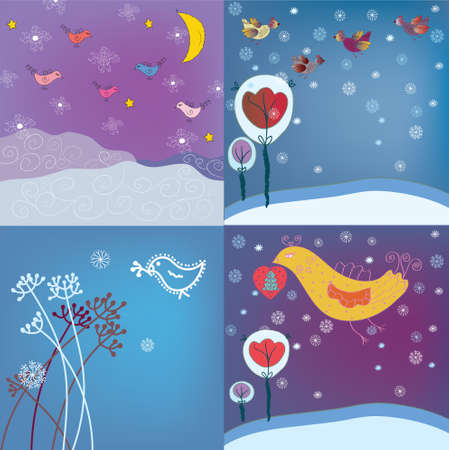 Christmas background set with birds and snow Stock Vector - 11131823