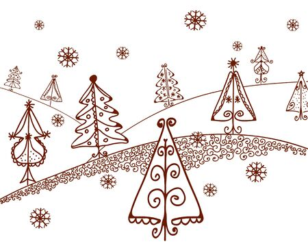 bucolical: Christmas trees landscape graphic cartooon