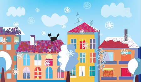 Chritmas town street in winter with snow Vector