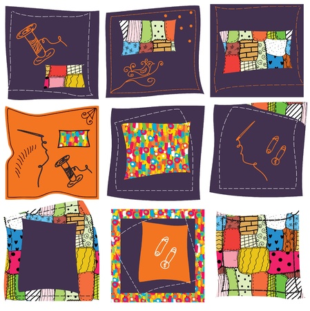 Sewing background set with patterns Vector