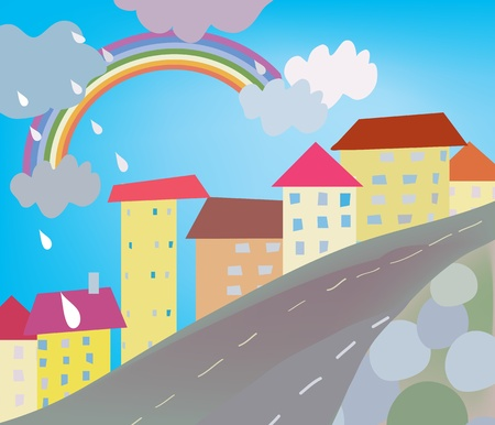 Funny city cartoon for kids with rain Illustration