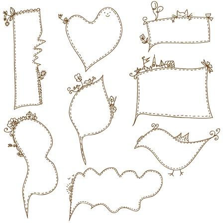 Frames doodle funny set cartoons Vector