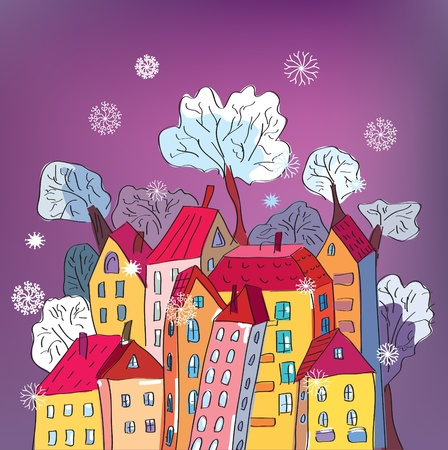 vibrant cottage: Christmas card with whimsical houses cartoon