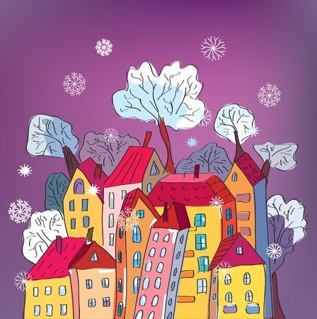 home moving: Tarjeta de Navidad con dibujos caprichosos las casas Vectores