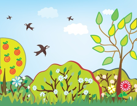 birds scenery: Summer landscape with trees cartoon