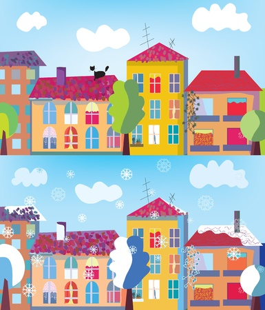 Town in summer and winter banner cartoon Vector