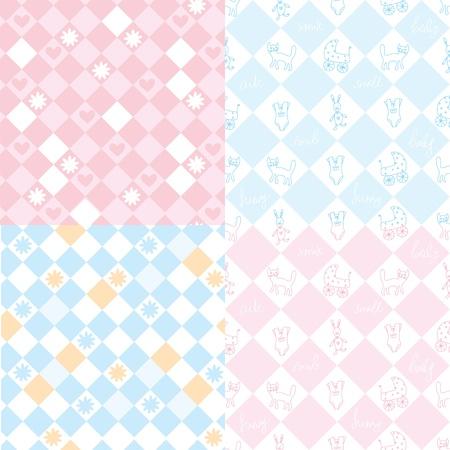 에있는 아기에 대한 원활한 패턴 핑크와 블루 일러스트