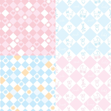 Seamless patterns for the baby in pink and blue Vector