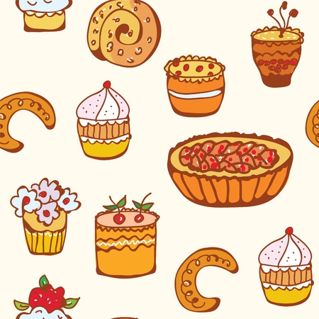 Cupcakes and backing seamless pattern funny Vector