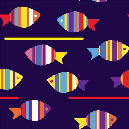 seawater: Fishes funny seamless pattern bright