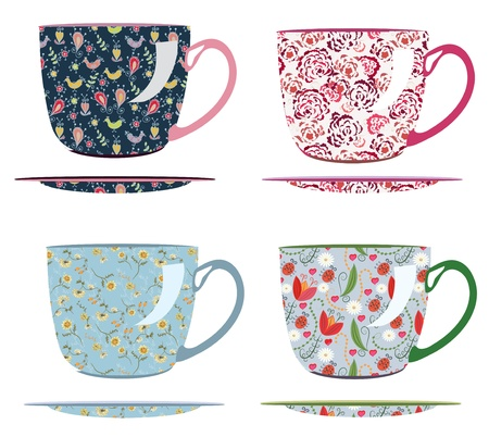 Cups for tea with patterns set Vector