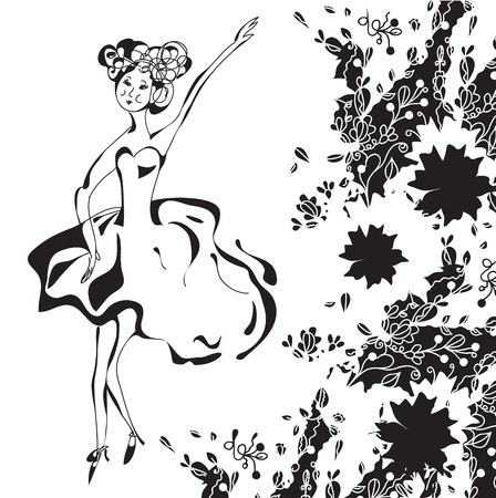 Dancing retro girl card with floral pattern Stock Vector - 11275272