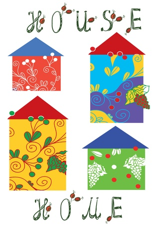 Houses icons set funny cartoons Vector