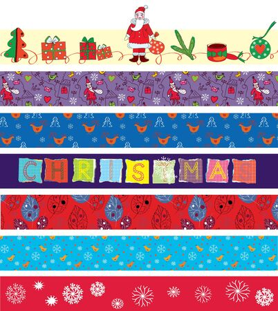 Christmas ribbons set with funny patterns Stock Vector - 11275278