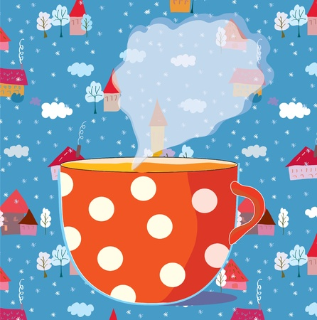 Christmas card with cup of tea and houses pattern Vector