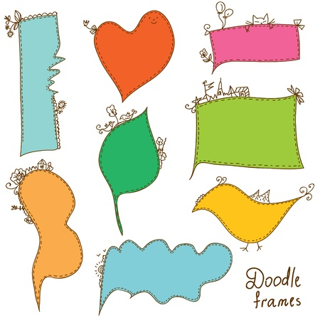 Doodle frames set bright cartoon Vector