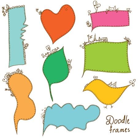 Doodle frames set bright cartoon Vector