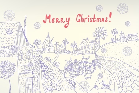 Retro christmas card with town and snow Vector