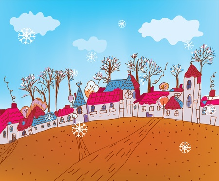 Christmas background with funny street and trees Vector
