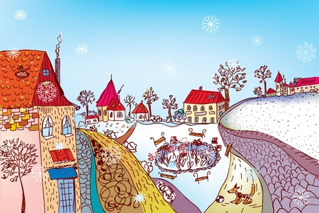 Christmas town scene painting with snow Vector