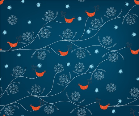 Winter seamless pattern with birds and snow Vector