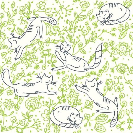 고양이와 장미와 원활한 꽃 벽지