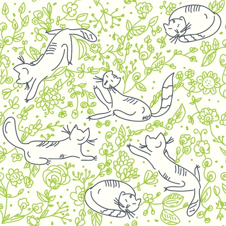 Seamless floral wallpaper with cats and roses Illustration