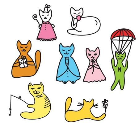 cat doodle characters funny cartoons Stock Vector - 11497171