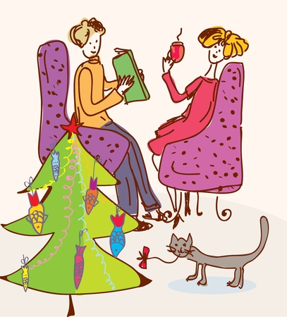 Christmas tree for cat funny cartoon Vector